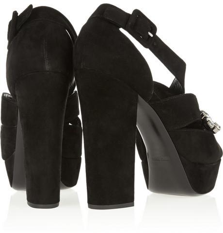 Miu Miu Jewel-embellished suede sandals