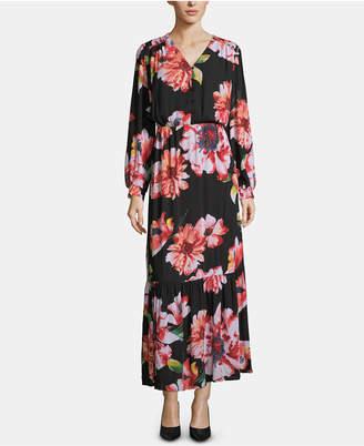 ECI Floral-Print Shirred-Shoulder Dress