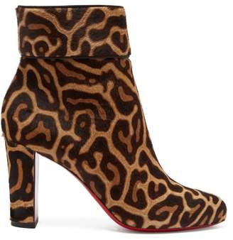 Christian Louboutin Moulamax 85 Leopard Print Pony Hair Ankle Boots - Womens - Leopard