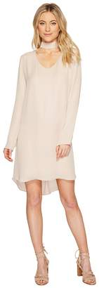 Heather Sloan Silk Peekaboo Neck Long Sleeve Mod Dress Women's Dress