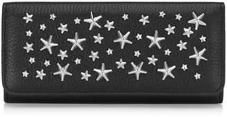 Jimmy Choo NINO Black Deerskin Continental Wallet with Crystal Stars