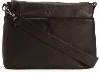 Mickey Double Zipper Flap Leather Hobo