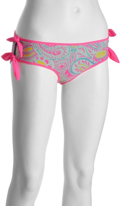 Marc by Marc Jacobs hot pink and aqua printed nylon blend 'Mona' reversible tie side bikini bottom