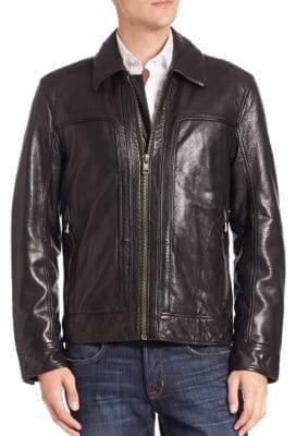 Andrew Marc Long Sleeve Shirt Collar Leather Jacket