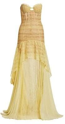 Jonathan Simkhai Women's Lace A-Line Side Slit Mermaid Gown - Lemonade/White - Size 0
