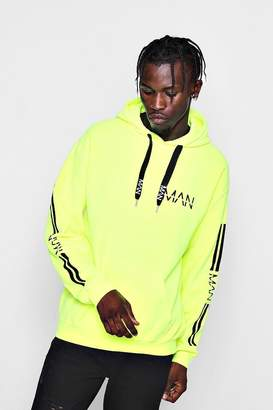 boohoo Neon Sleeve Printed Hoodie with MAN Drawcords