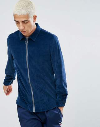 Asos DESIGN Regular Fit Velour Zip Thru Shirt In Blue