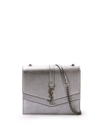 Saint Laurent Sulpice Medium Monogram Triple V-Flap Metallic Leather Crossbody Bag