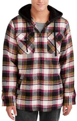 Burnside Men's Sherpa Lined Flannel Jacket with Fleece Hood, Up to Size 2XL