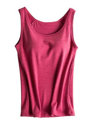 997bb55a216d7 Foxexy Womens Modal Strap Built-in Bra Padded Active Camisole Yoga Tank Top  Ruby US