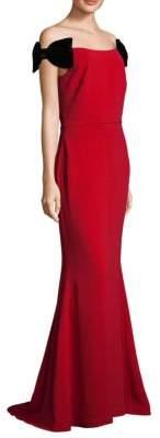 Alberto Makali Velvet Bow Floor-Length Gown
