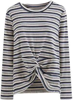 Goodnight Macaroon 'Monica' Striped Ribbed Front Knot T-Shirt (3 Colors)