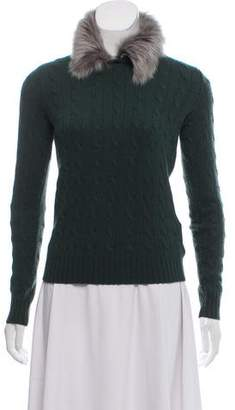 Ralph Lauren Black Label Shearling-Trimmed Cashmere Sweater