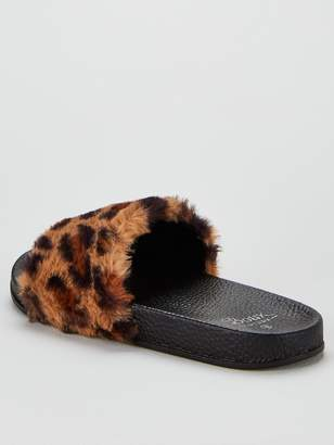 Boux Avenue Leopard Faux Fur Sliders - Multi