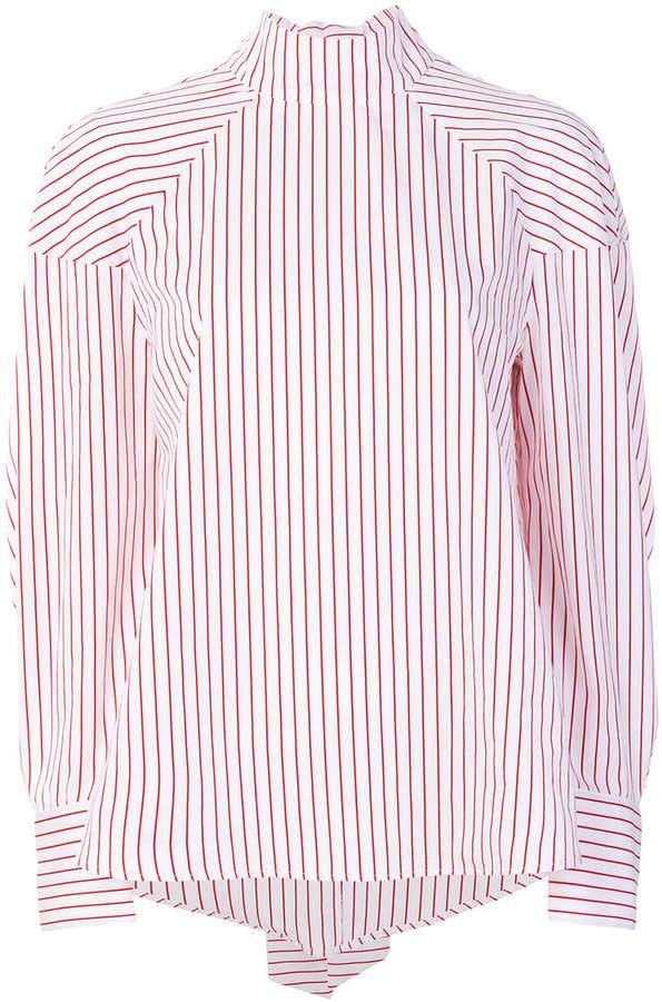 MSGM striped high collar shirt