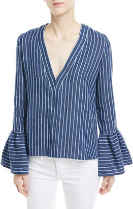 Alexis Pearce V-Neck Bell-Sleeve Striped Linen Top
