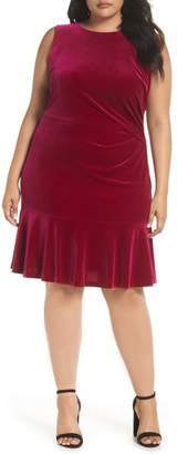 Eliza J Velvet Ruffle Hem Dress