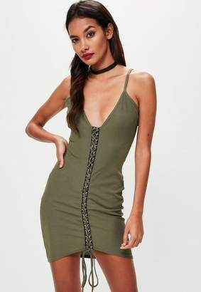Missguided Khaki Ribbed Strappy Lace Up Bodycon Dress
