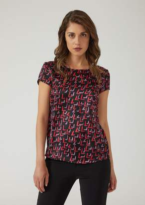 Emporio Armani Silk Satin Blouse With Abstract Pattern
