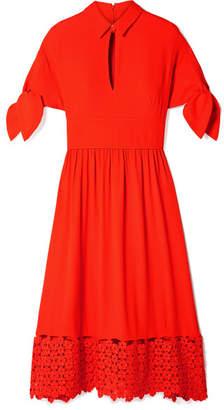 Lela Rose Tie-detailed Crochet-trimmed Cloqué Midi Dress - Orange