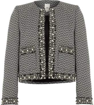 River Island Girls Black pearl trim boucle trophy jacket