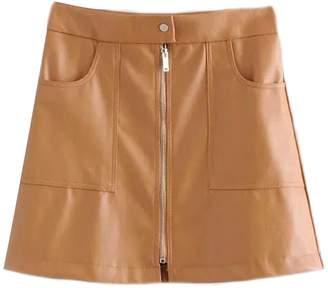 Goodnight Macaroon 'Beeru' Zip Front Faux Leather Mini Skirt