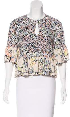 BCBGMAXAZRIA Floral Printed Short Sleeve Top