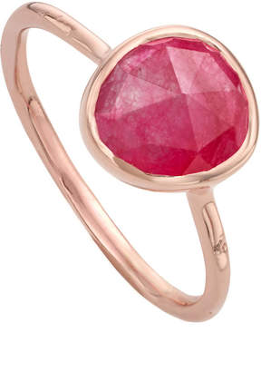 Monica Vinader Siren 18ct rose gold vermeil and pink quartz stacking ring