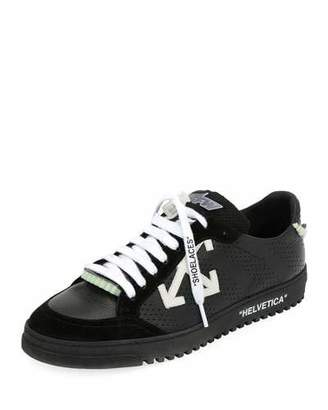 Off-White Men's 2.0 Perforated Leather & Suede Low-Top Sneakers, Black