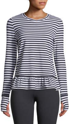 Kate Spade stripe ruffle long-sleeve pullover top