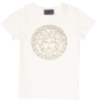 Versace Embellished stretch-cotton T-shirt