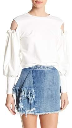 Romeo & Juliet Couture Ruffle Mesh Shoulder Balloon Sleeve Sweatshirt