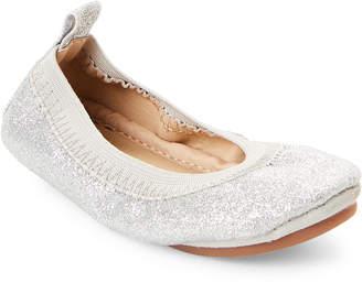 Yosi Samra Toddler Girls) Silver Sammie Glitter Ballet Flats