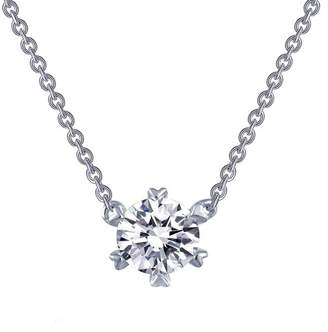 Lafonn Platinum Plated Sterling Silver Prong Set Simulated Diamond Solitaire Pendant Necklace