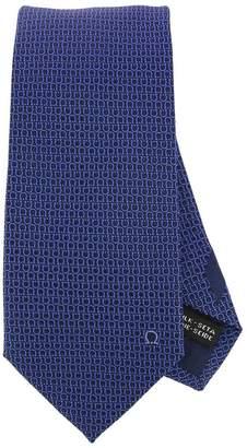 Salvatore Ferragamo Tie With All-over Mediterranean Double Hook Pattern Tie In Pure Silk 8 Cm