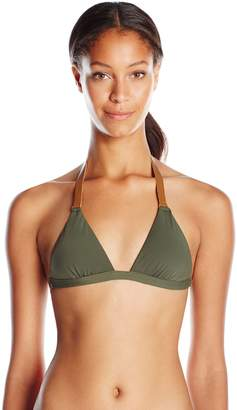 Vix Women's Solid Military Leather Triangle Bikini Top Large
