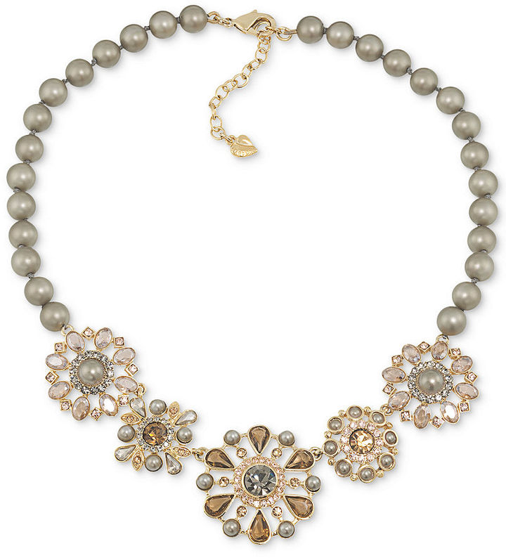 Carolee Necklace, Gold-Tone Imitation Pearl and Crystal Flower Statement Necklace - Breast Cancer Research Foundation
