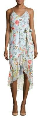 Alice + Olivia Mable Ruffled Floral Wrap Dress