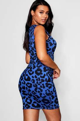 boohoo Plus Leopard Print Bodycon Dress