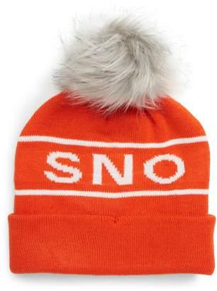 Topshop Sno Faux Fur Pom Beanie