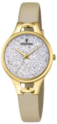 Swarovski Women's Watch Festina - F20335/1 - White Crystals from Beige Leather Band