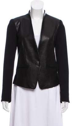 Rag & Bone Leather Paneled Structured Blazer