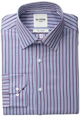 Ben Sherman Men's Blue Slub Bar Striped Oxford Shirt