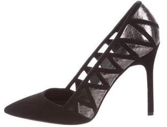 Brian Atwood Suede Cut-Out Pumps