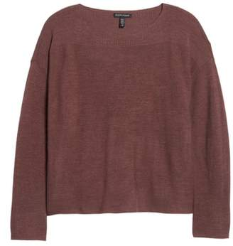 Eileen Fisher Mix Stitch Merino Bateau Neck Sweater