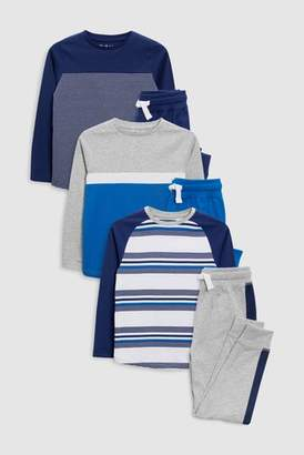 Next Boys Blue Stripe Pyjamas Three Pack (3-16yrs)