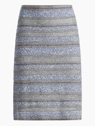 St. John Heathered Stripe Boucle Tweed Knit Skirt