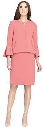Tahari by Arthur S. Levine Women's Pebble Crepe Skirt Suit with Ruffle Sleeve