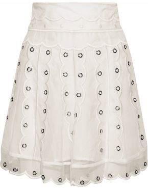 RED Valentino Scalloped Eyelet-Embellished Silk-Chiffon Mini Skirt