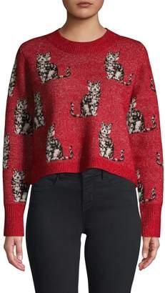 Wildfox Couture Dali Cropped Cat Sweater